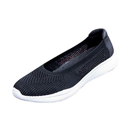 Zapatos deportivos para mujer, de verano, transpirables, cómodos, de malla hueca, para ocio, senderismo, correr, yoga, jardín, etc, negro, 36.5 EU