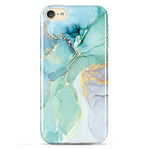 luolnh iPod Touch 7 Case,iPod Touch 6 Case,iPod Touch 5 Case,Gold Glitter Sparkle Marble Design Shockproof Soft Silicone TPU Bumper Cover Skin Case for iPod Touch 5th / 6th / 7th Gen(Abstract Mint)