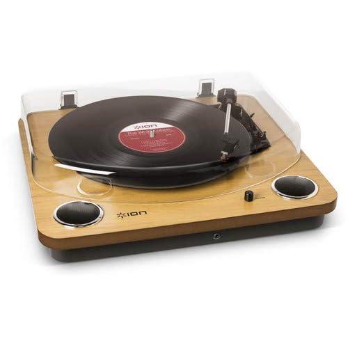 ION Audio Max LP - Giradiscos de tres velocidades con altavoces estéreo y salida USB para convertir discos de vinilo a archivos digitales, color Madera