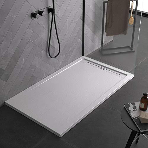 Piatto doccia bianco, in mineralmarmo, con effetto pietra...