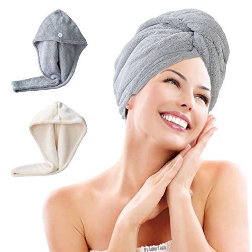 HyAiderTech Serviette Cheveux, Serviette de Bain Magique pour Sèche Cheveux Ultra Rapide Microfibre Super Absorbant l'eau Protéger Cheveux Enveloppeme