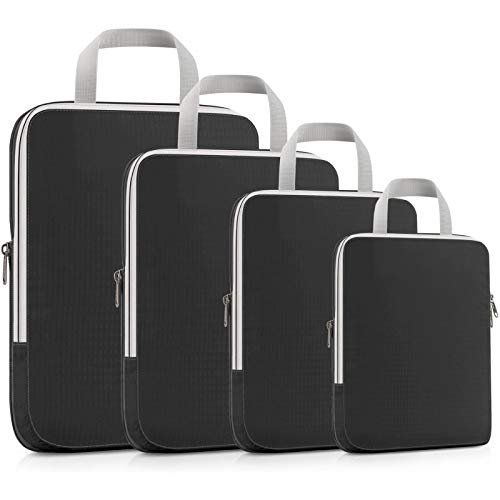 YuuHeeER Compression Packing Cubes Vacume Storage Extensible Organizer Bags For Travel Suitcase 4 Packs Black
