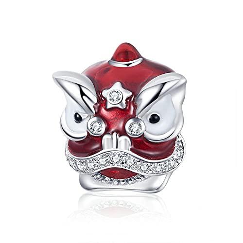 LIJIAN DIY 925 Sterling Jewelry Charm Beads Elemento Chino Danza Roja León Hacer Originales Pandora Collares Pulseras Y Tobilleras Regalos para Mujeres