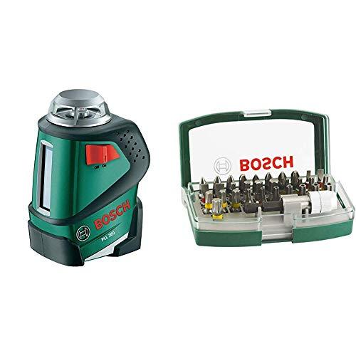 Bosch 360° Linienlaser PLL 360 Set (4x Batterien AA, Stativ, Tasche (Arbeitsbereich 20 m, +/-0,4 mm/m Messgenauigkeit)) & 32tlg. Schrauberbit-Set mit Farbcodierung