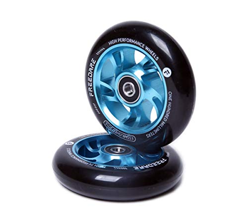 FREEDARE Scooter Wheels 100mm Pro Stunt Scooter Replacement Wheels with ABEC Bearings(Blue, Set of 2)