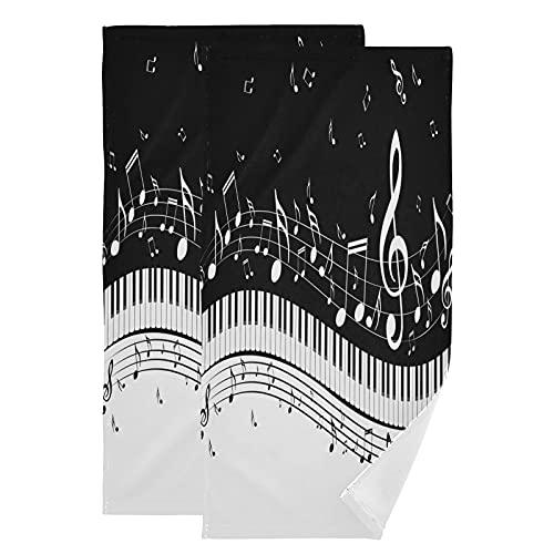 QMIN - Juego de 2 toallas de mano para notas musicales con teclas de piano, suaves y absorbentes, para cocina, baño, yoga, gimnasio, playa, 71,9 x 36,6 cm