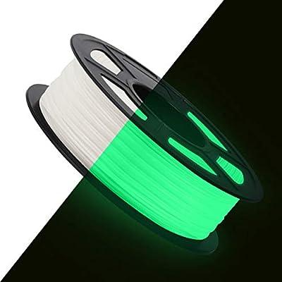 3D Printer PLA Filament 1.75, SUNLU Glow in The Dark Green Filament 1.75mm, Fit FDM 3D Printer, 1KG Spool, Dimensional Accuracy +/- 0.02 mm, Glow in Dark Green