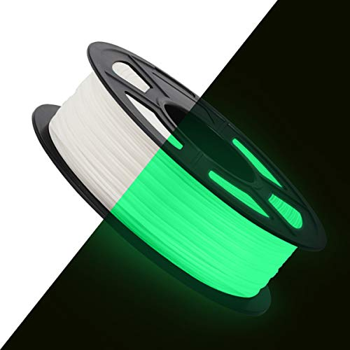 3D Printer PLA Filament 1.75, Glow in The Dark PLA Filament 1.75mm, Fit FDM 3D Printer, 1KG Spool, Dimensional Accuracy +/- 0.02 mm, Glow in The Dark White