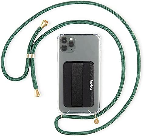KEEBOS Green Crossbody Phone Case with Strap and Card Holder Wallet Phone Case, Designed for All iPhones Including iPhone 11 Pro