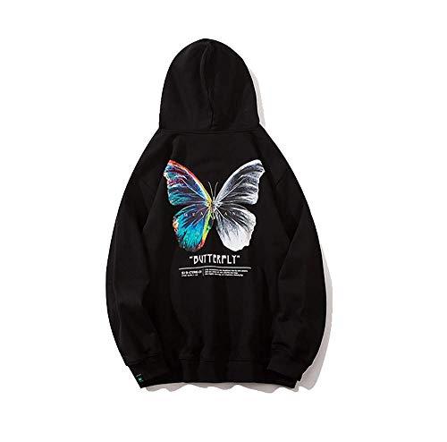 Unisex Butterfly Druck Hoodie Kapuzenpullover Langarm Sweatshirt Kapuzenjacke Print Hoodies Sweatshirts Streetwear Hip Hop Harajuku Lässige Hooded Sweat Shirts Herren Pullover (Black, S)