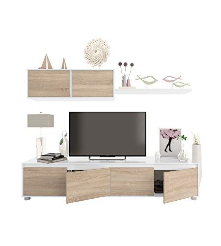 Habitdesign 0F6663A - Mueble de salón Moderno, modulos Comedor Alida, Acabado en Color Blanco Artik y Roble Canadian, Medidas: 43 x 200 x 41 cm de Fondo