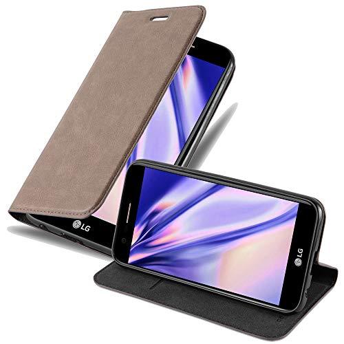 Cadorabo Hülle für LG K10 2017 - Hülle in Kaffee BRAUN – Handyhülle mit Magnetverschluss, Standfunktion und Kartenfach - Case Cover Schutzhülle Etui Tasche Book Klapp Style
