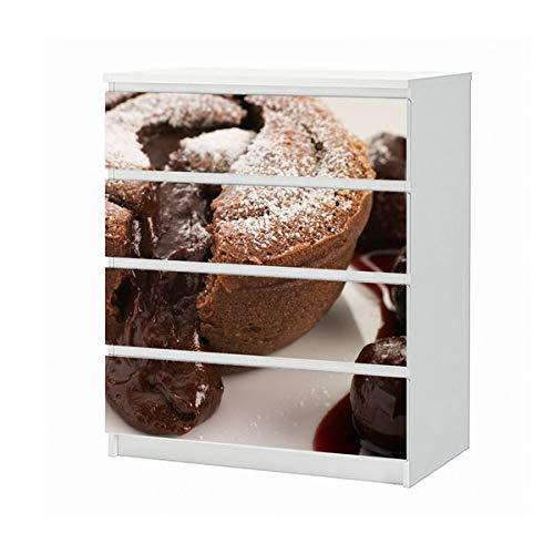 Set Möbelaufkleber für Ikea Kommode MALM 4 Fächer/Schubladen Keks Schokolade Küche Cafe Nachtisch cup cake Aufkleber Möbelfolie sticker (Ohne Möbel) Folie 25B729
