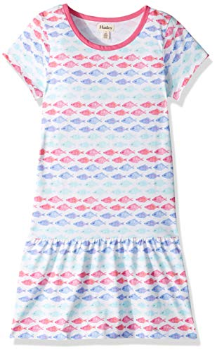 Hatley Girls' Big Tee Dress, Watercolor Fishies, 8 Years