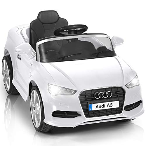 HONEY JOY Kids Ride On Car, 12V 4-Wheels Battery Power Electric Vehicle with R/C Parental Remote, 3 Speeds, Horn, Spring Suspension, LED Headlights, Ride on Toy Car (White)