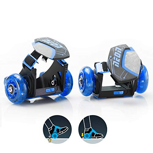 Yvolution Neon Street Rollers Pop N' Lock | Flashing Heel Wheels Clip on Skates, Blue