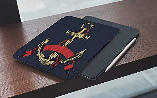 MEMETARO Funda para iPad 10.2 Pulgadas,2019/2020 Modelo, 7ª / 8ª generación,Tema de Anclaje Personalizado de Fondo Negro de Anclaje, Smart Leather Stand Cover with Auto Wake/Sleep