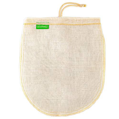GOURMEO Sacchetto filtrante per Latte vegetale I Sacchetto a Maglie fine per filtrare Latte di soia, mandorle, nocciole, Panno filtrante