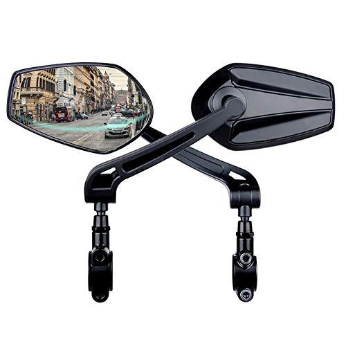 JJIIEE Espejo retrovisor de Bicicleta, 2 Espejos retrovisores de Bicicleta MTB, Espejo Curvo para expandir el Campo de visión, Ajustable 360 ° para Ciclismo de montaña y Carretera