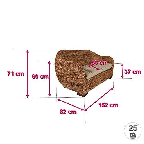 Rotin Design Rattansofa AZUR – Korbsofa – inkl. Sitzpolster – Massivholzfüße – Braun - 2
