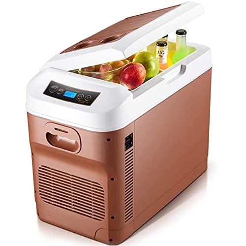 Frigorífico congelador Caja de fresco eléctrico 12V 24V 220V-240V Refrigerador de coche portátil de 28 litros Mini refrigerador de campamento para vehículo, RV, barco, viajes, Picnic - Casas marrones,