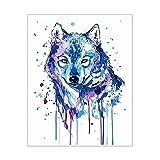 ZXDA Blue Wolf Frameless Pintura por Kits de números Animales DIY Lienzo Pintura al óleo por número con Marcos de Madera para Dormitorio A1 50x70cm