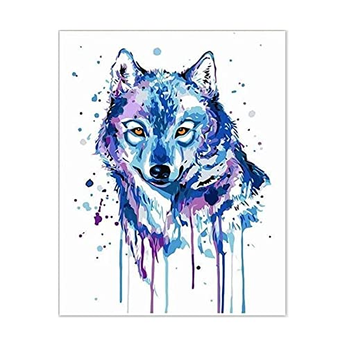 ZXDA Blue Wolf Frameless Pintura por Kits de números Animales DIY Lienzo Pintura al óleo por número con Marcos de Madera para Dormitorio A1 40x50cm