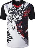jeansian Hombre Camisetas Deportivas Wicking Quick Dry tee T-Shirt Sport TopsLSL254 Black L