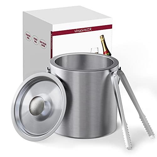 vinaSaker 1.3L Secchiello Ghiaccio, Contenitore Inox per Vino a Doppia Parete in Acciaio Inox Secchiello Compreso Pinze e Coperchi e Maniglia per Trasporto Ideale per Famiglie e Bar, Argento