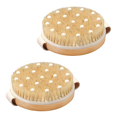 AmazerBath 2 Pack Dry Body Shower Brush, Natural Bristles Wet and Dry Brushing with Gentle Massage Nodes, Dry Brush for Cellulite and Lymphatic, Exfoliating Dry Brush for Blood Circulation Improvement