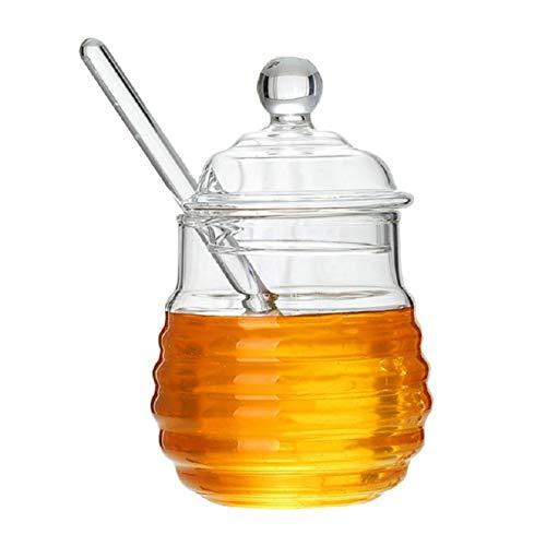 GuDoQi Tarro De Miel Con Cuchara De Miel Y Tapa Vaso Transparente Tarro De Jarabe Para Almacenamiento Y Dispensación De Miel Y Jarabe Juego De 2