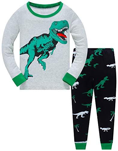 Schlafanzug Jungen Langarm Zweiteiliger Baumwolle Kinder Nachtwäsche Dinosaurier Feuerwehrauto Zug 134 (Green Dinosaur-6130 8T)