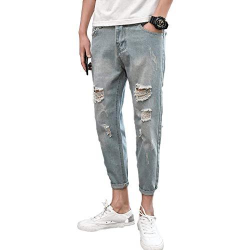 Huntrly Jeans para Hombres Tendencia de Primavera y otoño Pantalones Vaqueros Ajustados Rasgados con Personalidad de Cintura Media Pantalones Vaqueros Casuales Europeos y Americanos 33W
