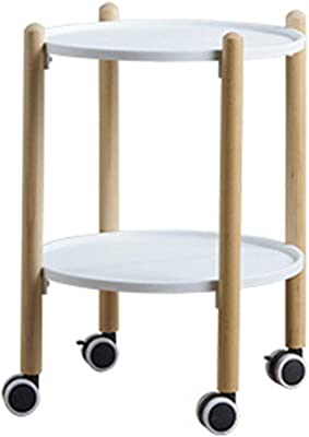 Coffee Tables Tea cart Mobile Small Coffee Table Round Solid Wood Side Living Room Tea Table Mobile cart Dining car (Color : White, Size : 41 * 41 * 56cm)
