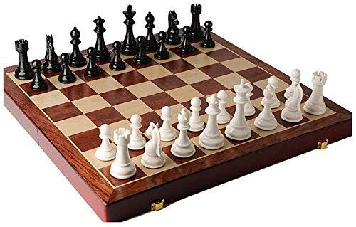 Juego de ajedrez Juego de Viaje para Adultos, niños, Tablero de ajedrez, Juego de ajedrez Plegable de Madera, Tablero de ajedrez e con Pieza de ajedrez y Ranuras de Almacenamiento, Gran Juego de ajed