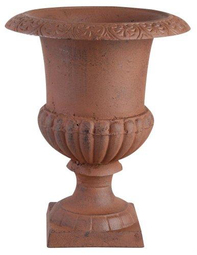 Esschert Design Blumentopf, Übertopf Französische Vase, Amphore auf Sockel, Größe S, ca. 17 cm x 17 cm x 22 cm
