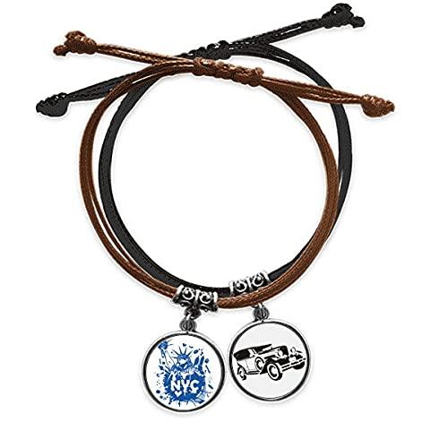 Bestchong New York City ÉTats - Unis de liberté Bracelet Corde Main Chaîne Bracelet Cuir Minibus