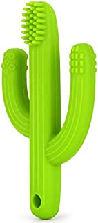 Pickle & Olive Baby Teether Toy Toothbrush - Infant Training Toothbrush for Teething - 100% Food Grade Silicone/BPA-Free - Green Cactus
