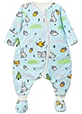 Happy Cherry - Bebés Saco de Dormir Infantil de Algodón con Zapatos Desmontable para Otoño Invierno Moños Enteros de Niños con Cremallera Estampado Lindo - Azul - 1-3 Años