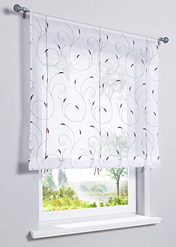 WPKIRA Rod Pocket Top Pastoral Fresh Simple Embroidered Roman Sheer Curtain Shades Coffee Voile Sheer Window Drapes Valances for Kitchen Living Room Study,1 PC Purple W23.6 x L47 inch