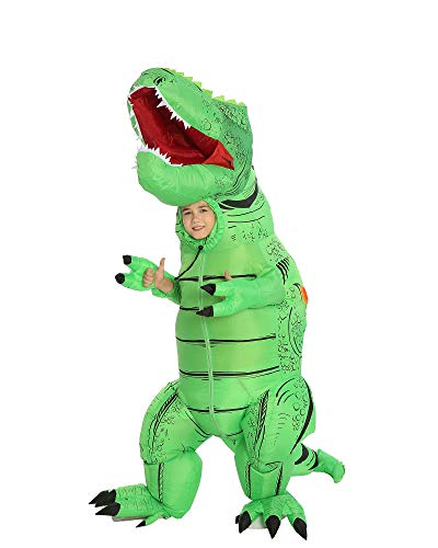 New Inflatable Dinosaur Costume T-Rex Costume Adult Blow Up Halloween Party Fancy Dress (Green Medium)