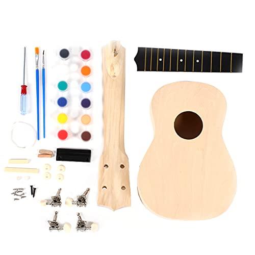 Ukelele soprano de 21 pulgadas, juego hecho a mano para padres e hijos, kit de ukelele de madera pintada, instrumento hecho a mano para estudiantes adultos