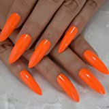 Neon Fake Nails Extremely Long Bright Orange Shiny Press On Nail Carnival Style Decoraion Manicure Tips Salon Nails 24