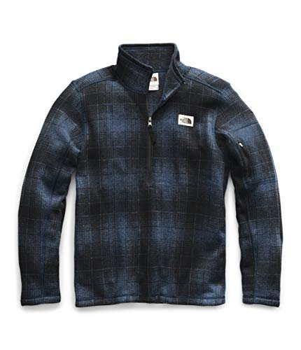The North Face Men's Gordon Lyons Novelty 1/4 Zip, Shady Blue Ombre Plaid Small Print, L