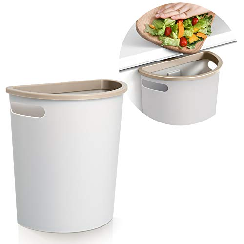 Subekyu Small Trash Can, Hanging Waste Bin Under Kitchen Sink, Plastic Wastebasket Over Cabinet Door with Top Ring to Fix Garbage Bag.