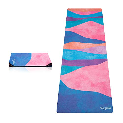 Yoga Design Lab | DE TRAVEL YOGA MAT | 2-in-1 Mat+Handdoek | Lichtgewicht, Opvouwbaar, Eco Ideaal voor Hot Yoga, Bikram, Pilates, Barre, Sweat | 1mm Dik | met draagband