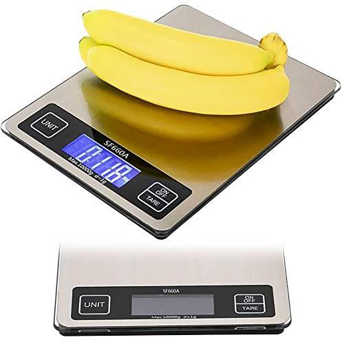 Báscula de alimentos, báscula de cocina de 22 x 17 cm, plataforma de 10 kg/1 G, pantalla táctil multiprecisa de graduación para alimentos KG/G/G/LB/OZ cocina/horneado electrónica de cocina báscula