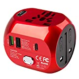 Milool Adattatore Universale da Viaggio con QC3.0 Quick Charge 2 Porte USB 3.0 e 1 Interfaccia Type-C US/EU/UK/AU in One Caricatore Multifunzioni per Oltre 180 Paesi, 2 Fuse (Spare Fuse) -Rosso