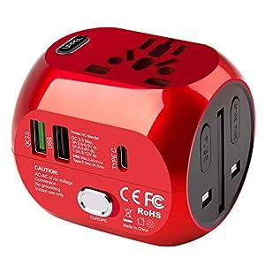 milool Adaptador Enchufe de Viaje Universal Adaptador con Tres Puertos USB y Tipo-C(3A) para EU AU US UK Más de 150 Países y Seguridad para Tableta PC,Smartphones,Cámaras,Reproductores de MP3 (Rojo)