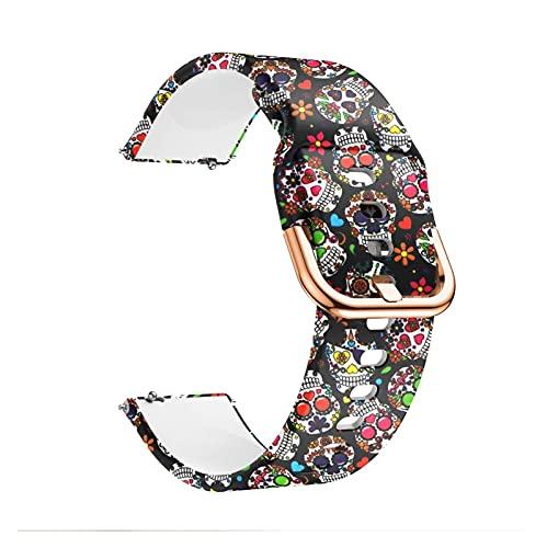 DealMux Watch Bracelets 20mm 22mm Impresión de pulsera de silicona para Samsung Galaxy Watch Active 42mm Gear S2 para Garmin Huawei Amazfit Correa para hombres (Color: H, Tamaño: 20MM)
